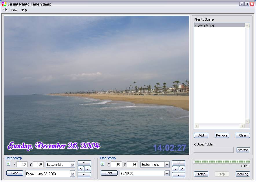 Click to view Visual Photo Time Stamp 2.1.5 screenshot